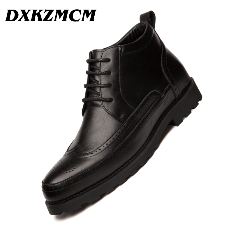 DXKZMCM Brand Men boots Male Business Office Formal Leather Shoes Men Winter Boots Men's Ankle Boots