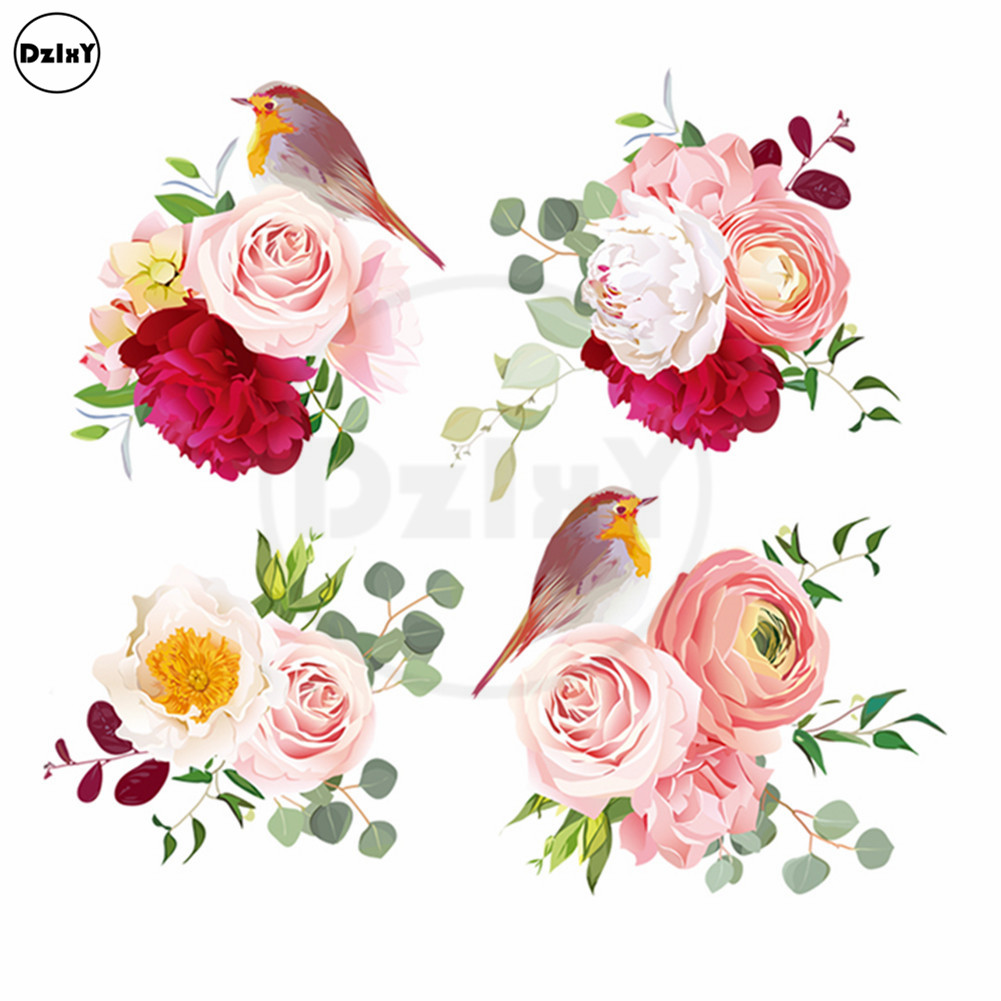 Watercolor Flowers Birds Eco-Friendly Heat Transfers Stickers PVC Thermal Appliques for Clothes Iron on Print on Patches @T-125 rysunek kolorowy motyle