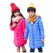 2017 New Solid Long Down Jacket For Girls Winter Jackets For Boys Hooded Zipper-front Children Down Jacket Winter Snow Wear 8070