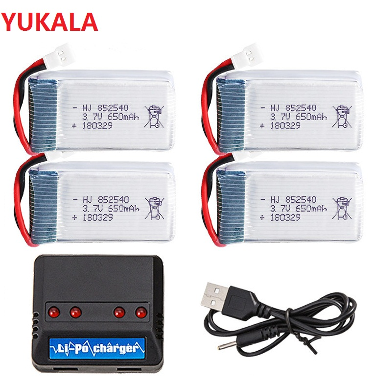 YUKALA 5pcs 3.7V 650mAh Drone ชาร์จ Li-Polymer แบตเตอรี่ 802540 + USB Charger ชุดสำหรับ X5C x5C-1 X5 H5C Quadcopter