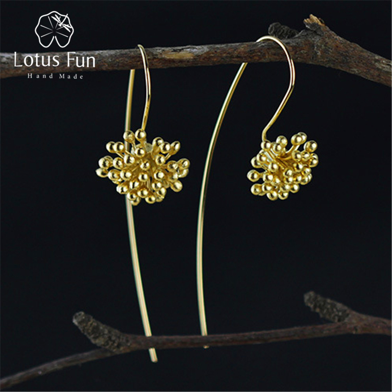 Lotus Fun Real 925 Sterling Silver Natural Creative Handmade Fine Jewelry Vintage Delicate Flower Drop Earrings