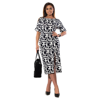2017 Summer Big Size Women Dress Newest Plus Size Office Work Dress 5XL 6XL Letter Print