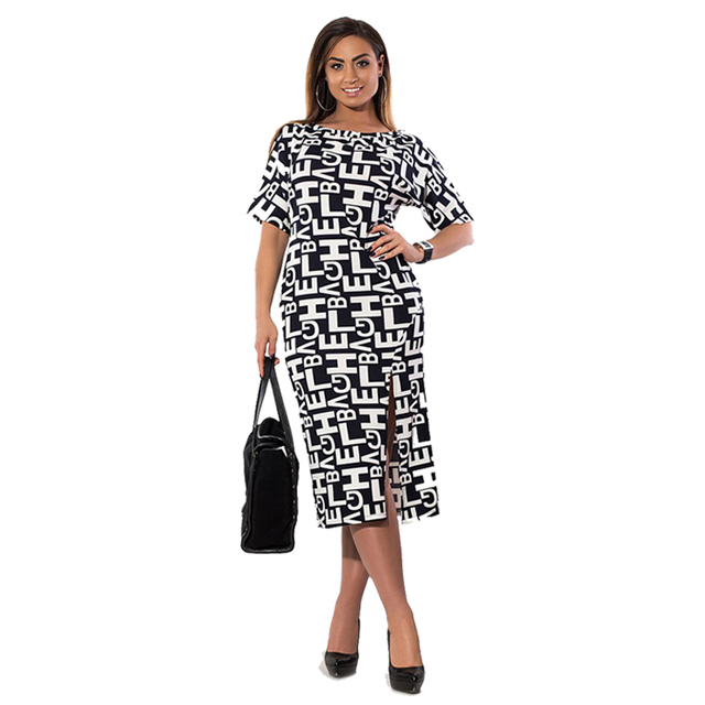 2018 Summer Big Size Women Dress New Plus Size Office Work Dress 5XL 6XL  Letter Print High Split ukraine Robe Wowen Clothing 469f7bff4f77