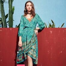 ARTKA 2019 Spring Summer Featured Women Dress Elegant Bohemia Fashion Dress Parrot Green V Neck Design Vintage Dresses LA10891X цена
