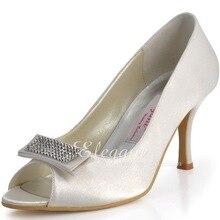 Ladies Shoes  Brand New AJ90 Peep Toe Ivory Rhinestone Patch Thin Heels Satin Elegant Wedding Bridal Pumps