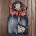 Summer Fashion Mens Cool Stylish PU Leather Patchwork Sleeveless Ripped Designer Denim Vest  Male Man Spring Rivets Jeans Vests