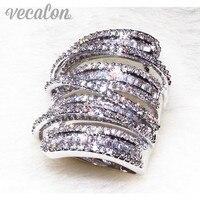 Vecalon Antique Big Ring Women Men Jewelry 20ct Simulated Diamond Cz 925 Sterling Silver Engagement Wedding