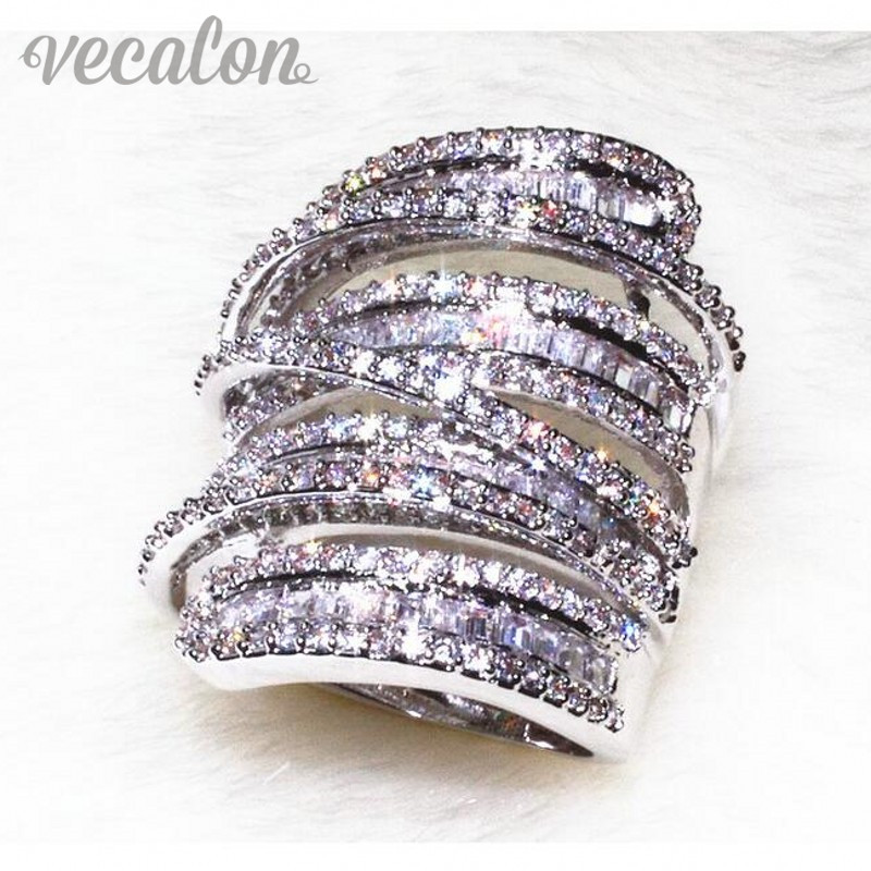 Vecalon Antique Grand anneau Femmes Hommes Bijoux 20ct AAAAA Zircon cz 925 En Argent Sterling Engagement Band anneau de mariage pour les femmes