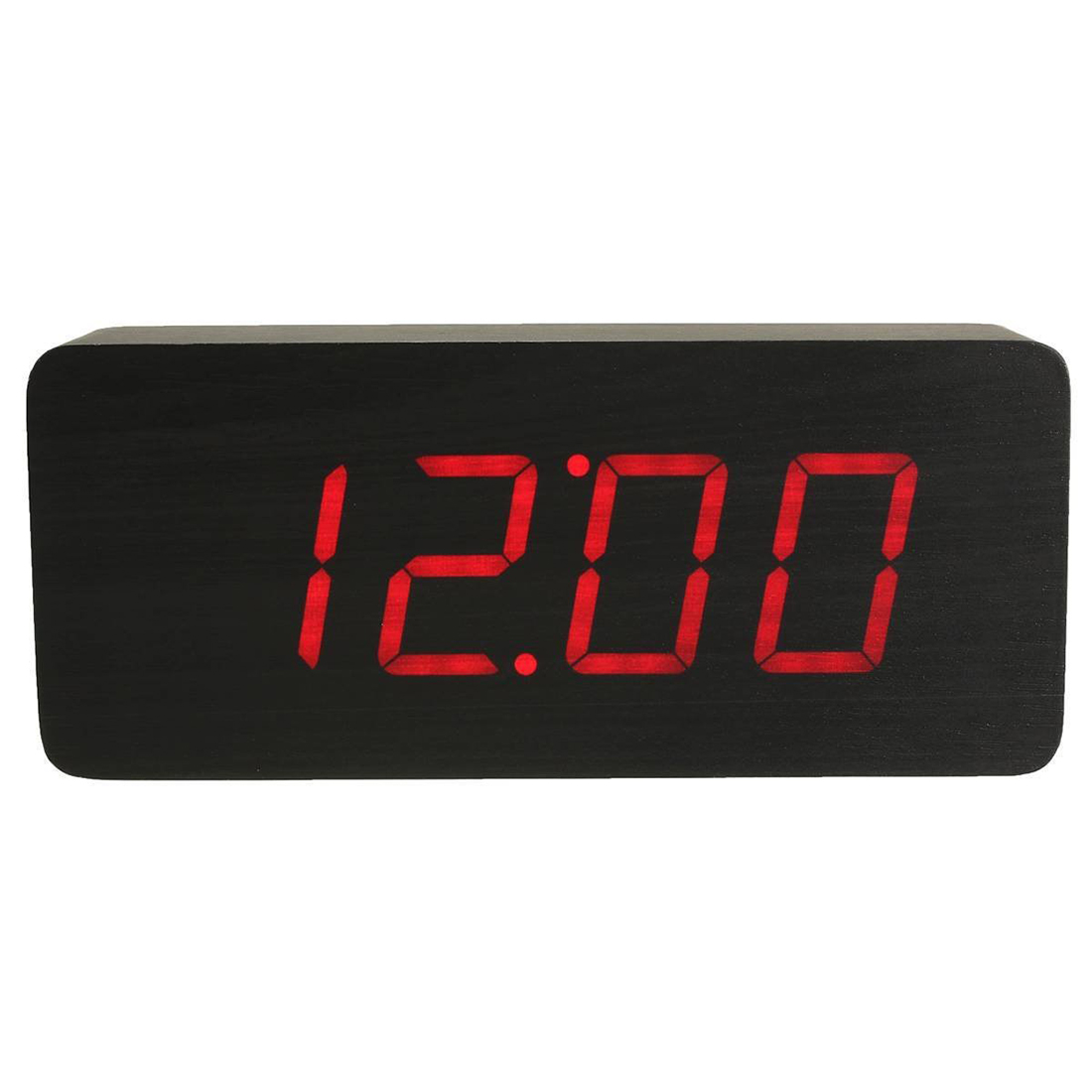 HOT-Acrylic Mirror Wood Digital LED Alarm Clock - Time, Calendar and Temperature