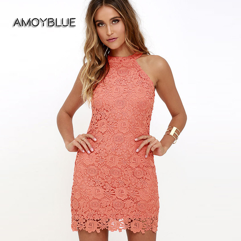 Buy Cheap Amoyblue 3 Colors,Pink Yellow and White,Sexy Women Lace Dress with Halter Neck,elegant Lady Pencil Dress,Women Summer Dresses