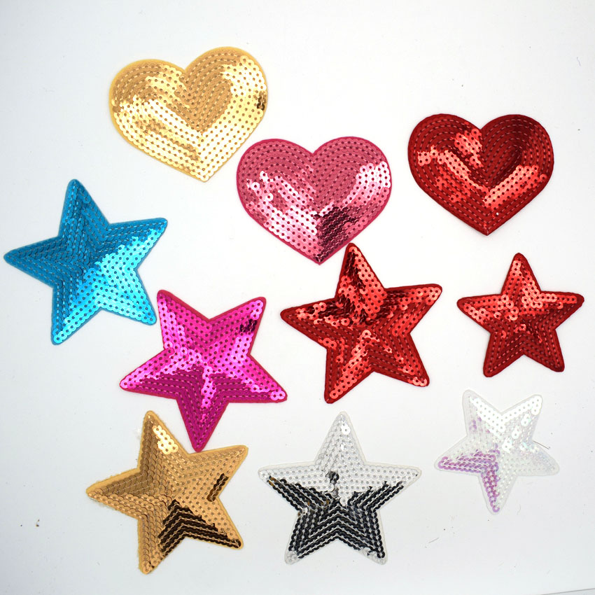 Sew on patch Applique Sequin Heart Embroidered Iron on Badge