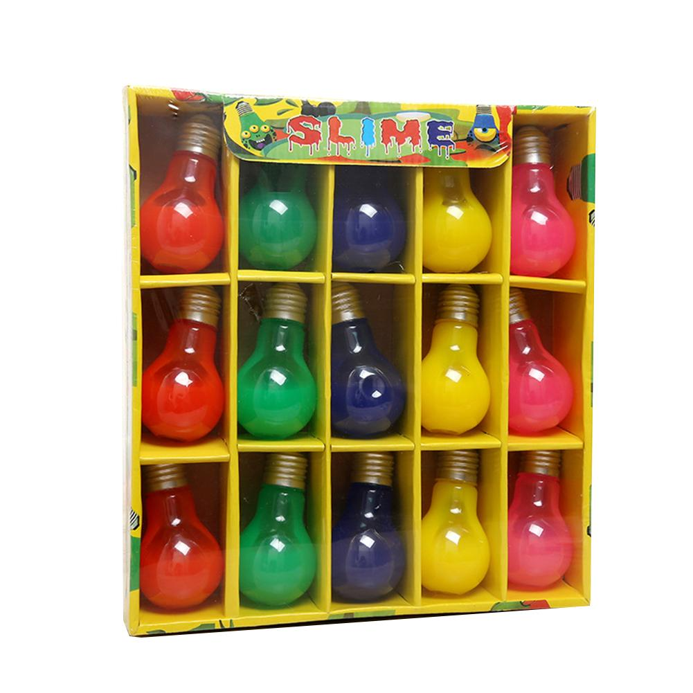15Pcs Funny Light Bulb Shape Bottle Soft Slime Stress Relief Children Adult Toy colorful Magic for kids