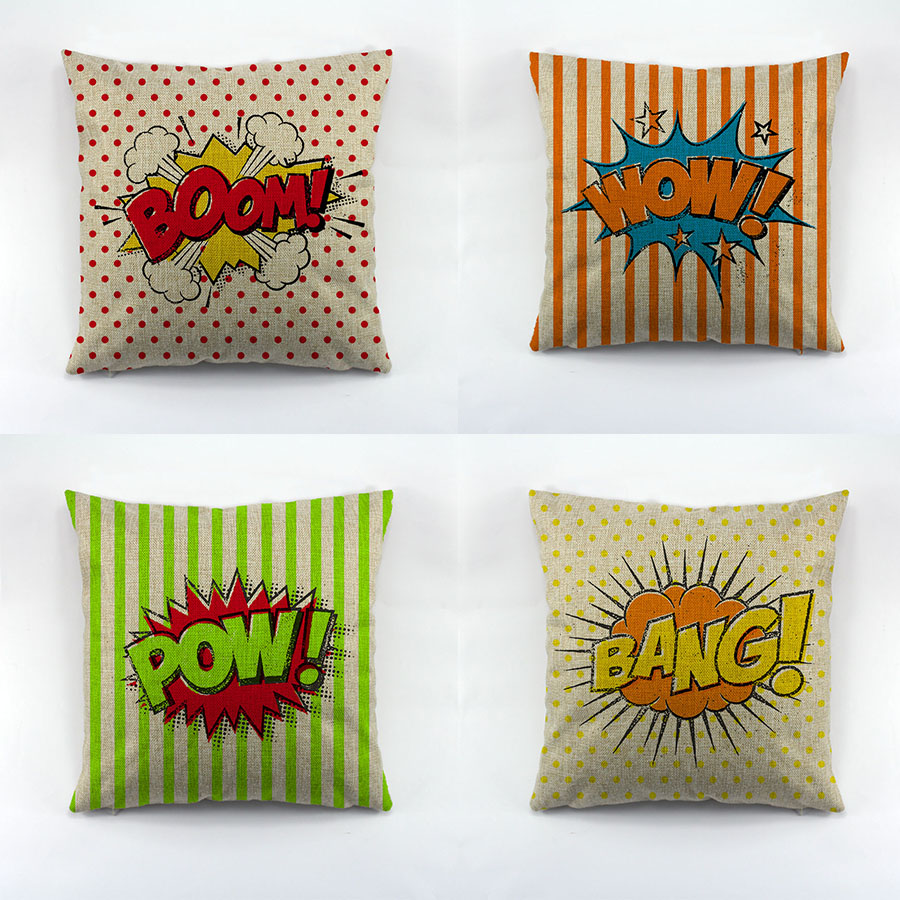 Style bande dessinée lettre Boom mots coussin couvre Pop Art Style taie d'oreiller pour canapé coton Liene housse de coussin pour voiture