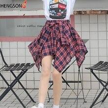 Модная женская юбка в стиле ретро с асимметричным подолом, клетчатая юбка для студентов, юбка для девочек Harajuku, Милая юбка с галстуком-бабочкой и высокой талией