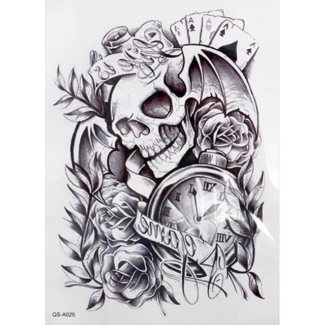 1pcs Men Women Fake Old Clock Rose Tattoo Body Arm Adhesive Death