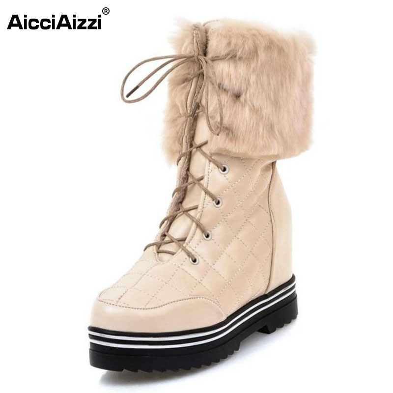 AicciAizzi Size 34-43 Ladies Thick Fur Mid Calf Snow Boots Women Height Increasing Cross Strap Shoes Women Witer Warm Botas kemekiss size 34 43 ladies height increasing mid calf boots women round toe cross tied shoes women thick fur warm snow botas