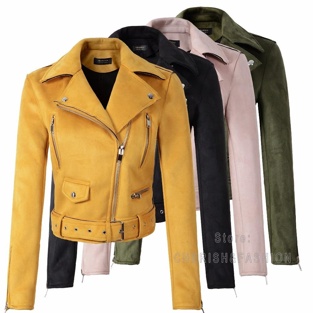 New Arrial Women Autumn Winter Suede Faux Leather Jackets Lady Fashion Matte Motorcycle Coat Biker Yellow Pink Black Outwear Hot