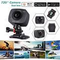 Frete grátis! Dual-lente de 360/220 Graus Panorâmica VR Câmera de Ação de Esportes HD 720 P 8MP Wi-fi