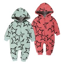 winter baby newborn costume romper Thick 0-18 MONTH baby boy girl one-piece jumpsuit hooded star unisex outwear clothes warm