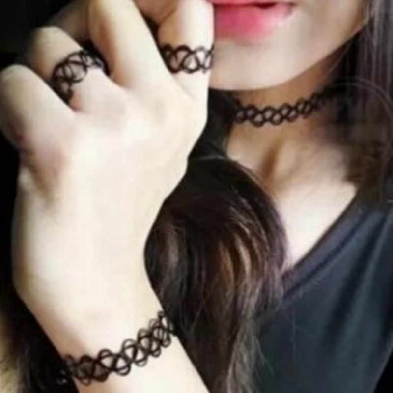 2017 3pcs Black Vintage Choker Stretch Tattoo Set Gothic Punk Elastic Chocker Chokers Necklaces Choker collares Collier Femme