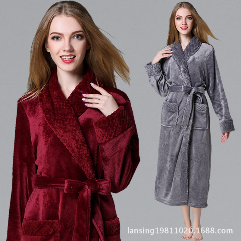 Ladies Long Bathrobe For Women Flannel Bath Robe Dressing Gown Winter Solid Robe Sleepwear Pajama Nightdress