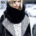 MCCKLE лиса искусственного меха зимы женщин шарф толстый теплый привет-улица сплошной цвет трикотажные Воротник Кольцо для дамы ветрозащитный шарфы обертывания
