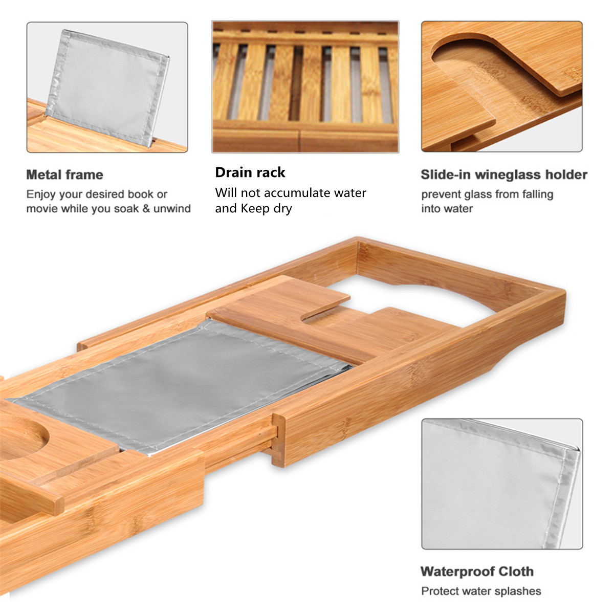 Extendable Bathroom Bamboo Bath Caddy Wine Glass Book Holder Bathtub ...
