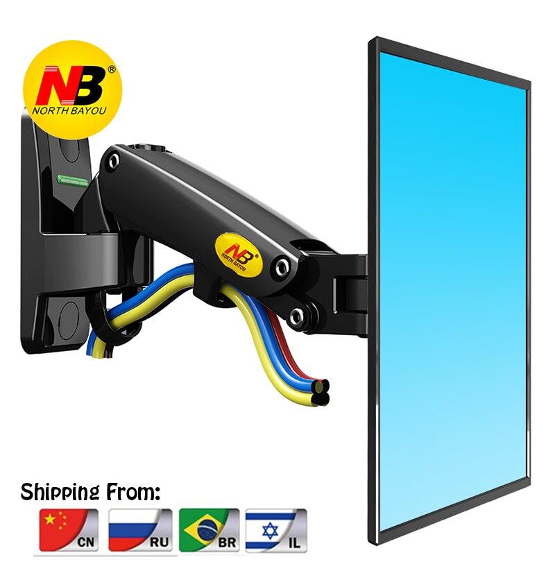 Montagem da parede da TEVÊ Mola A Gás NB F120 para 17-27 polegada LCD LED Monitor de Movimento Total Suporte de Alumínio Braço suporte de carregamento máximo 7 kgs