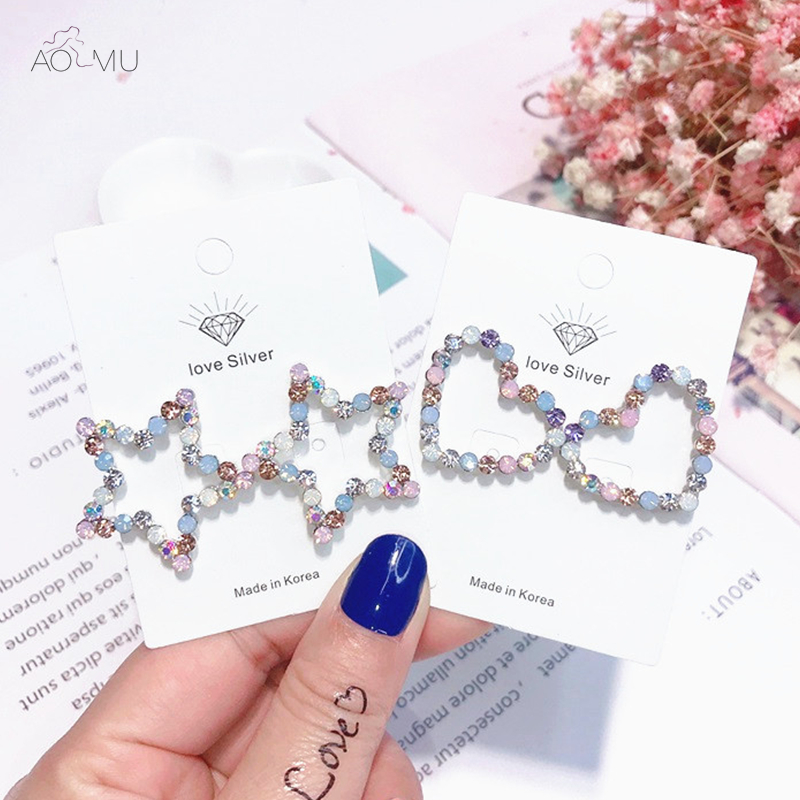 Detail Feedback Questions about AOMU 2018 New Design Korea Opal Stone  Crystal Five pointed Star Love Heart Rhinestone Stud Earrings for Women Girl  on ... 37c39f441fab