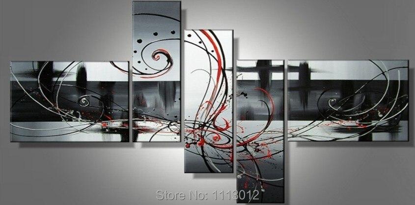 Абстрактный Черный линии Феникс живопись маслом на холсте Высокое качество 5 шт. Наборы для ухода за кожей дома современный Wall Книги по иску...