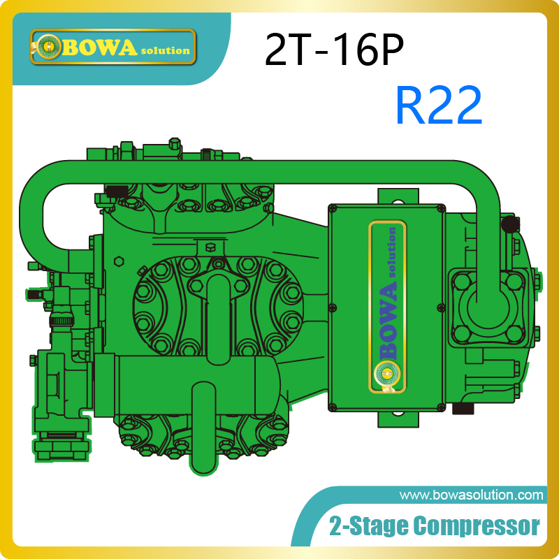 16HP 2-stage R22 freezer compressor has two-stage compression process and single-stage compression ratio is reduced