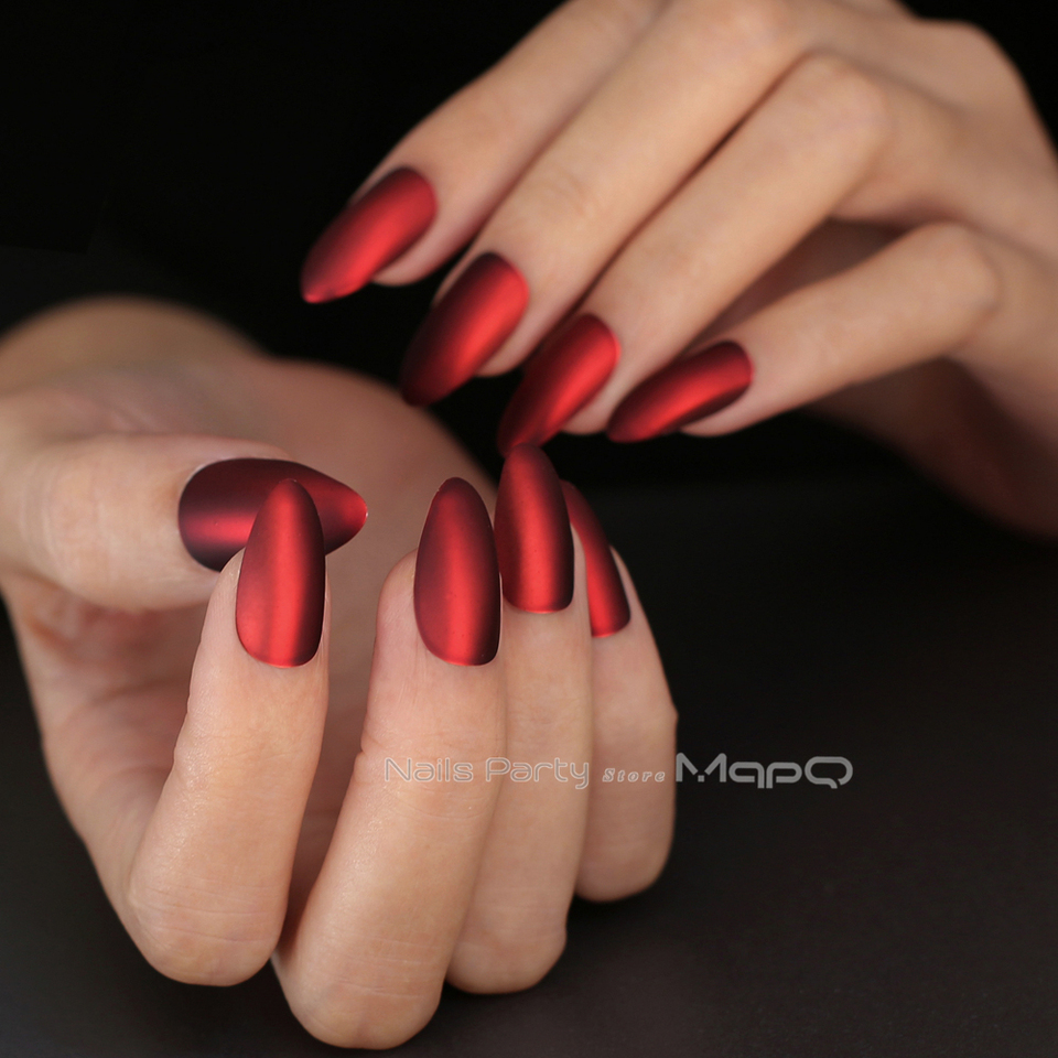 New Silver Matte Metal Stiletto Nails Red Medium Cool Fake Nails