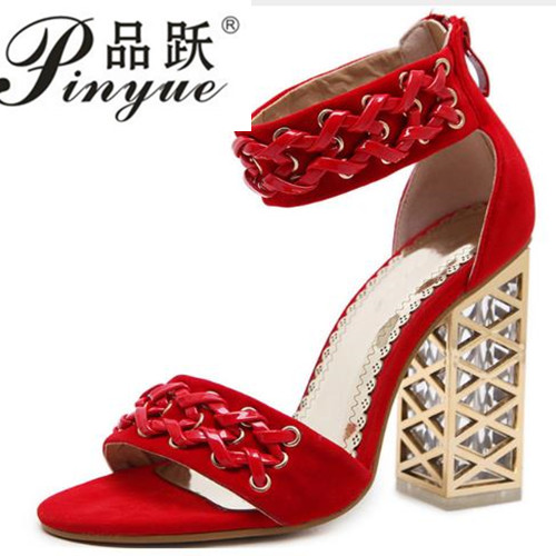 2018 black red zipper ladies summer shoes square heel elegant wedding shoes  super high women high heels sandals With 12 cm high b6e1f25ab9e2