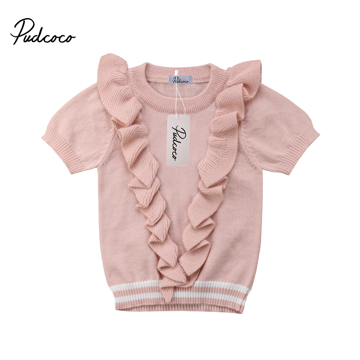 Toddler Baby Kids Girls Short Sleeve Blouses Pullover Knitted Casual New Kids Clothes Blouses