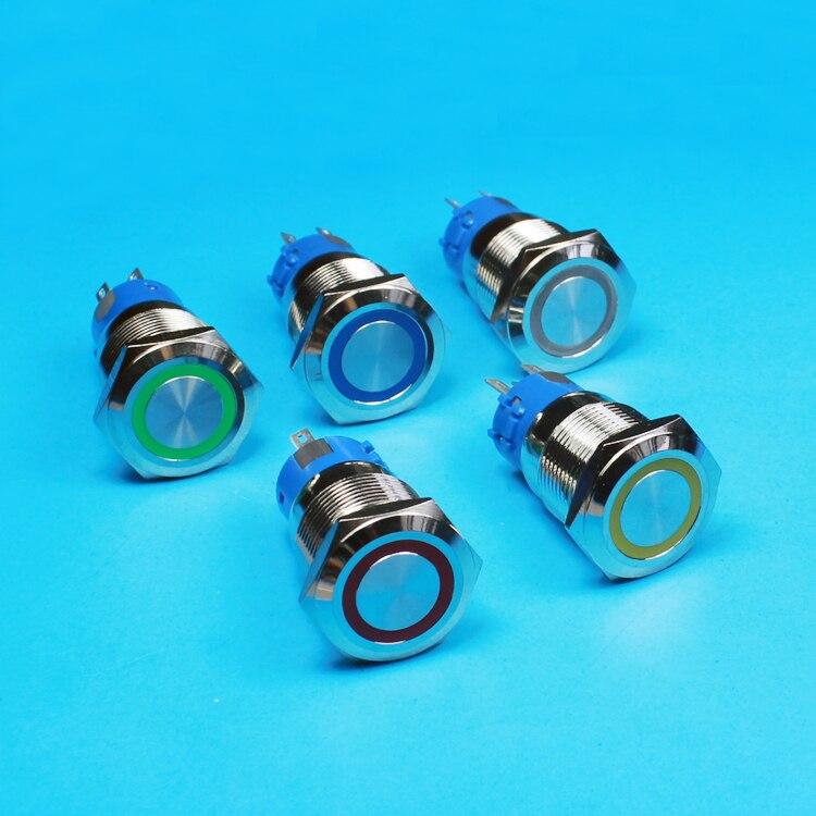 Flat Head Ring Light <font><b>19mm</b></font> <font><b>LED</b></font> Metal Push Button Latching Switch ON-OFF Waterproof Switch