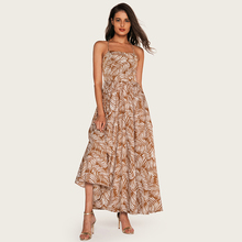 Wasteheart Summer Green Khaki Women Long Dresses Printed Backless Halter Holiday Sexy Plus Size Sundress Beach Style