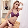 New fashion women 2017 sexy cutout W wire breast thin lace bra push up young girl underwear lovely ladies bra and panties set