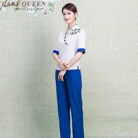 Women Spa thai massage beautician uniform beauty salon waitress beautiful uniforms female hotel pant suits clothing DD1266