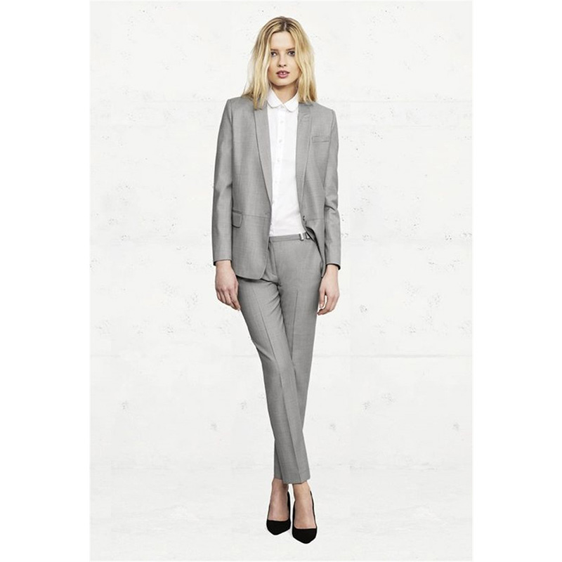 Light Gray Womens Business Suits Office Uniform Style Formal Pant Suits For Weddings Tuxedo Female Trouser Suits jacket+pants