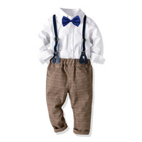Boys Formal Suit 2019 Spring Fashion Party Clothes Gentleman Boys Single breasted Soild Shirt+Bib Pant 2Pcs Kids Costumes 1 7T