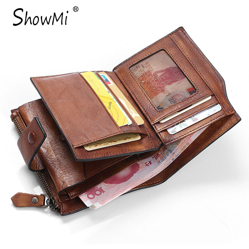 ФОТО ShowMi 100% Handmade Real Genuine Leather Men Wallet Luxury Male Coin Purse Change Hasp Brown Retro Vintage Small Short Wallet