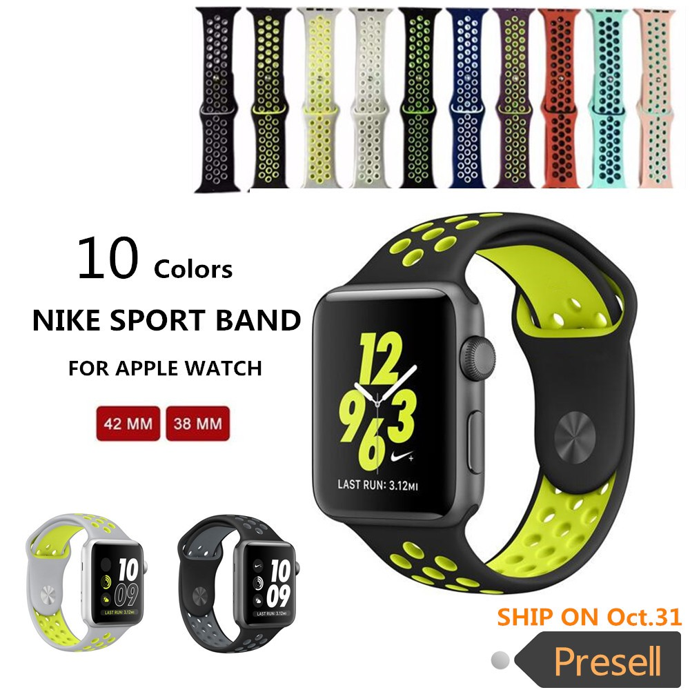 1:1 Original sports Silicone strap for iwatch Series1 2 NIKE apple watch band 42mm men Rubber bracelet wrist With Adapter