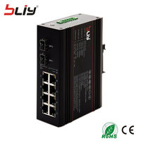 BLIY 2GX8GT managed fiber optic switch 1000Mbps 8 port ethernet switch with sfp module connector Industrial ethernet switch