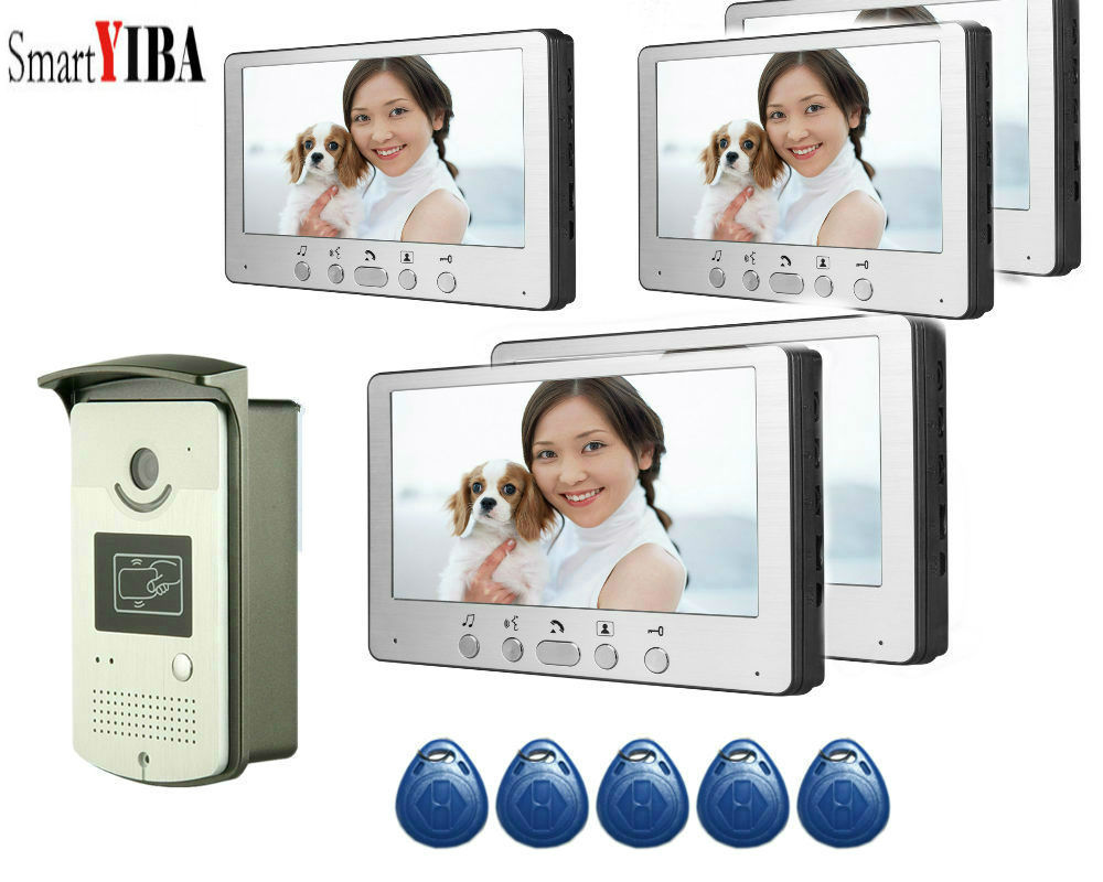 SmartYIBA Home Video Intercom 7 Inch Video Door Phone Doorbell Door 5pcs RFID Access Control System For 5 Unit Apartme ...