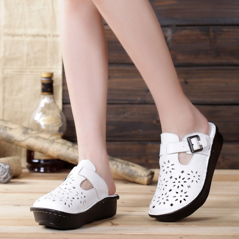 Women Flat Shoes Hand made Slip on Cut outs Platform Shoes 100 Authentic Leather Ladies Shoes