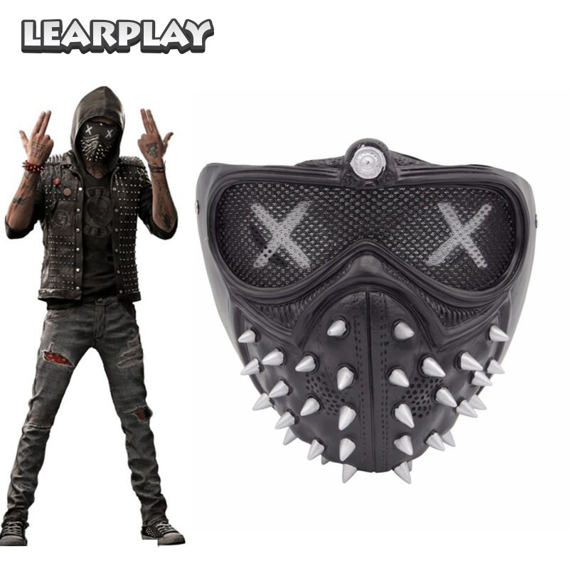 Game Watch Dogs 2 Mask Marcus Holloway Wrench Cosplay Rivet Face Masks Party Men Christmas Halloween Props PVC Black Face Cover