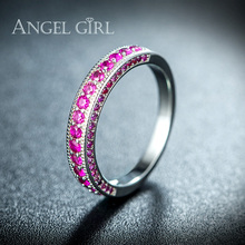 Angel Girl White Gold Color Hot Ring Purple Zirconia Classic