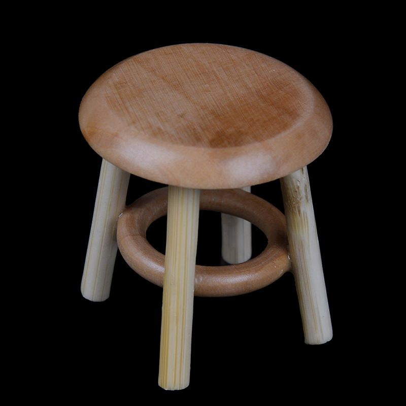 1/12 Dollhouse Miniature Furniture Round Stool Chair Acc for Dolls House Decor Kids Children Pretend Play Toy