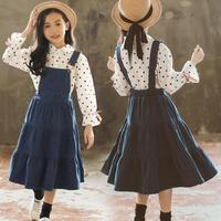 2019 Europe Style Girls Clothing Sets Fashion Dot Blouses Shirts + Denim Jumpsuits 2pcs Children Girls Clothing Sets 10 12 Years