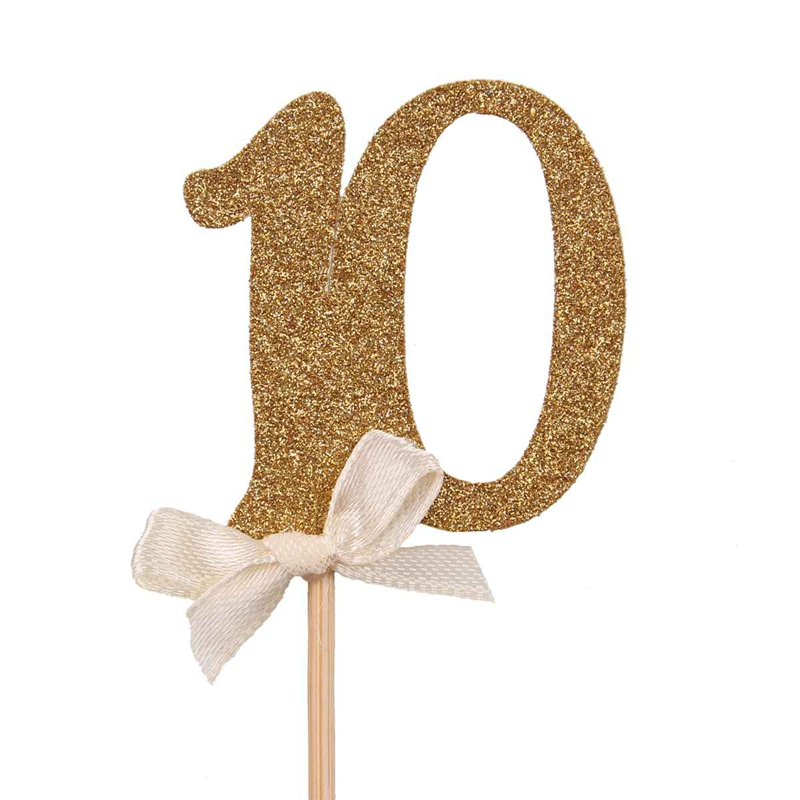 Gold Glitter Wedding Cake Toppers